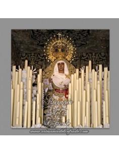 Azulejo cuadrado  de la Virgen Esperanza de Triana en su palio
