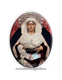 Azulejo ovalado 6x8 ctm de la Virgen del Rosario Doloroso de Sevilla