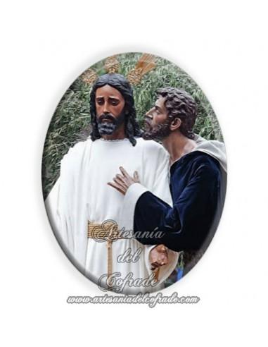 Azulejo ovalado 6x8 ctm del Cristo del Beso de Judas de Sevilla