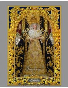 Azulejo rectangular con greca de la Virgen de la Estrella de Sevilla