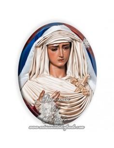 Azulejo ovalado 6x8 ctm de la Virgen de la Hiniesta de Sevilla