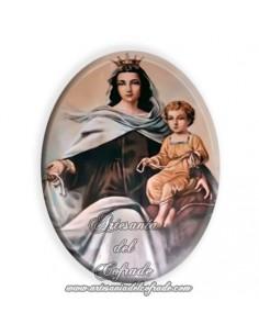 Azulejo ovalado 6x8 ctm de la Virgen del Carmen