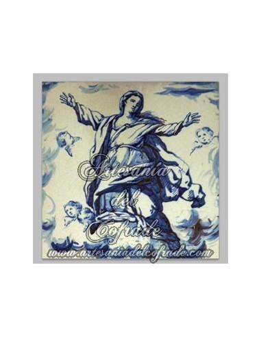 Azulejo cuadrado de la Asunción de la VIrgen Maria