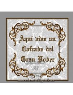 Azulejo con el texto de Aqui vive un cofrade del Gran Poder, solo disponible en nuestra tienda de Semana Santa