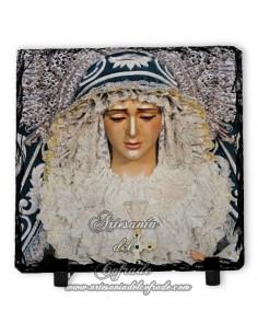 Baldosa de pizarra cuadrada de la virgen de la Candelaria de Sevilla