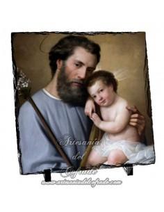 Baldosa de pizarra cuadrada de San José y el niño Jesús