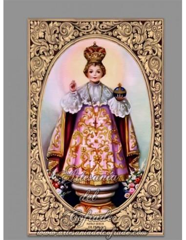 Azulejo rectangular del Niño Jesús de Praga