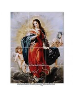 Retablo de 12 azulejos con la Virgen Maria y ángeles