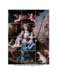 Retablo de 12 azulejos de la Divina Pastora
