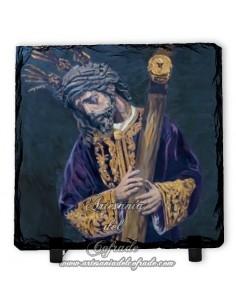 Baldosa de pizarra cuadrada con Jesús del Gran Poder de Sevilla