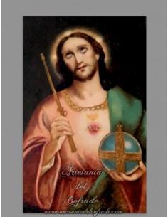 Azulejo rectangular del Sagrado Corazón de Jesús Rey del Universo