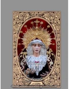 Azulejo rectangular con la Virgen de los Dolores de Sevilla (Cofradia del Cerro del Aguila)