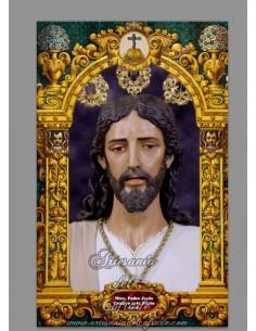 Azulejo rectangular de Ntro Padre Jesús Cautivo ante Pilato de Sevilla (Hermandad de los Dolores de Torreblanca)