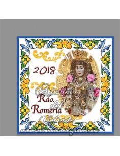 Azulejo cuadrado de Recuerdo de la Romeria del Rocio 2018
