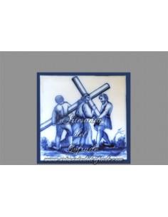 Azulejo en venta de la escena del Viacrucis de Cristo.REF:002