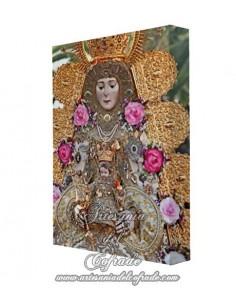 Estampación en tela con bastidor 20x30 de la Virgen del Rocio (Reina de las Marismas)
