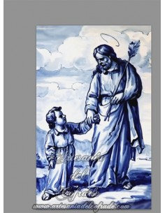 Se vende azulejo rectangular de San José y el niño Jesús