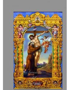 Se vende cerámica de San Francisco abrazando a Cristo en la cruz - Tienda de Articulos Religiosos