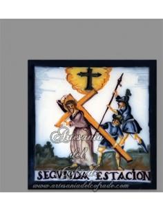 Se vende cerámica de la segunda estación del Via crucis de Cristo - Tienda Cofrade