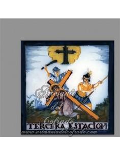Se vende este azulejo cuadrado con la tercera estación del Via crucis - Tienda Cofrade