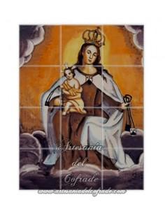Se vende este mosaico de 12 azulejos de la Virgen del Carmen - Tienda de Articulos Religiosos