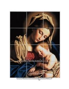 Se vende retablo cerámico de 12 azulejos de la Virgen Maria y el Niño Jesús