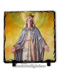 Se vende esta baldosa de pizarra cuadrada con la Virgen de la Milagrosa - Tienda Cofrade