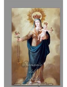 En venta este azulejo rectangular con la Virgen del Rosario con niño Jesús - Tienda Cofrade
