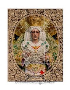 Retablo de 12 azulejos de la Virgen de la Esperanza Macarena de Sevilla con greca