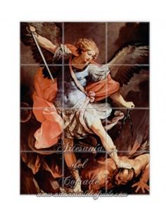 Se vende este mosaico cerámico de 12 azulejos del Arcangel San Miguel - Tienda de productos religiosos