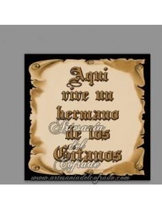 En venta esta cerámica con el texto de Aquí vive un Hermano de los Gitanos - Tu tienda Cofrade de Confianza