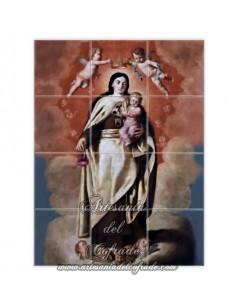 En venta este mosaico de 12 azulejos con la imagen de la Virgen del Carmen - Tienda de Articulos Religosos