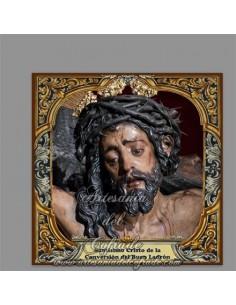 Azulejo cuadrado del Santísimo Cristo de la Conversión del Buen Ladrón de Sevilla (Hermandad de Montserrat)