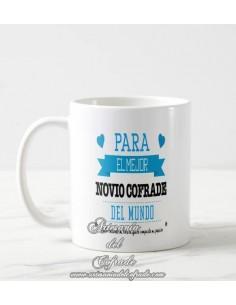 Taza Cofrade con el texto Para el mejor novio cofrade del mundo solo en tu tienda cofrade