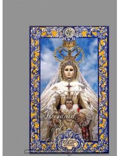Azulejo rectangular con lema de la Virgen del Rosario (Patrona de Cádiz) solo en venta en nuestra tienda web cofrade
