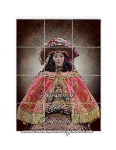 mosaico de 12 azulejos de la Virgen del Rocio vestida de Pastora solo en venta en Artesania del Cofrade