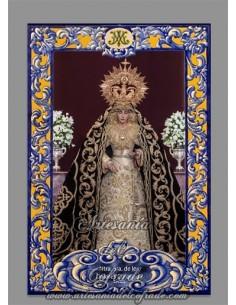 Azulejo rectangular con la Virgen de los Dolores de Sevilla (Hermandad del Cerro del Aguila) solo en venta en tu Tienda Cofrade