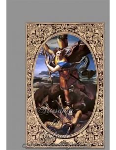 Cerámica rectangular del Arcangel San Miguel con greca para decoración en interior en venta en tu tienda religiosa online