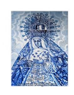 Se vende este mosaico cerámico de 12 azulejos de la Virgen de la Macarena de Sevilla