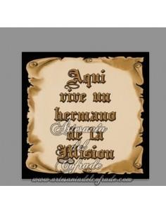 Azulejo cuadrado de Aquí vive un Hermano de la Misión en venta en tu tienda de Semana Santa online