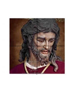 Retablo de 4 azulejos cuadrados del Cristo de San Gonzalo de Sevilla