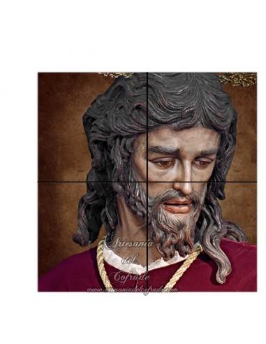 Retablo de 4 azulejos cuadrados del Cristo de San Gonzalo de Sevilla. Somos Fabricantes. Venta a particulares o Tiendas