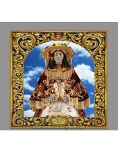 Azulejo cuadrado de la Virgen del Rocio vestida de pastora