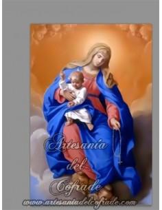Se vende esta cerámica rectangular con la Virgen del Rosario con niño Jesús - Tienda Cofrade