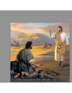 Se vende este azulejo cuadrado de Jesús pescador de hombres, solo en venta en nuestra tienda de articulos religiosos