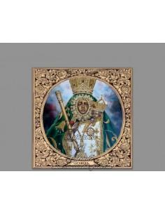 Precioso azulejo cuadrado de la Virgen de la Cabeza (Patrona de Andujar- Jaen)
