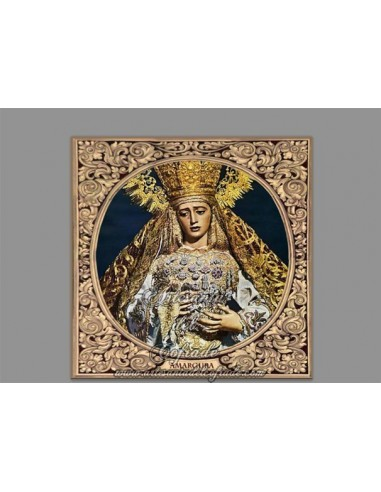 Precioso Azulejo cuadrado de la virgen de la Amargura de Sevilla