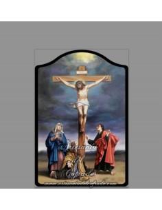 Capilla Placa madera del calvario de cristo.