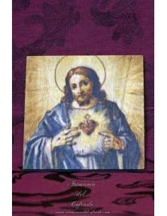 Bonita placa de madera 10x10 del Sagrado Corazón de Jesús