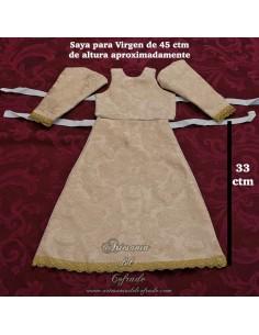 Saya de damasco crema con el filo dorado para Virgen de 45 ctm en venta en nuestra tienda cofrade